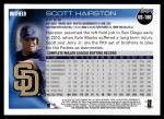 2010 Topps Update #186  Scott Hairston  Back Thumbnail