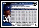 2010 Topps Update #206  Garret Anderson  Back Thumbnail