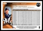 2010 Topps Update #182  Randy Wolf  Back Thumbnail