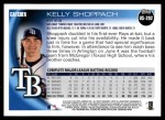 2010 Topps Update #292  Kelly Shoppach  Back Thumbnail