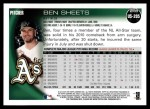 2010 Topps Update #205  Ben Sheets  Back Thumbnail