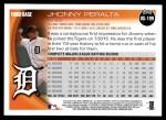 2010 Topps Update #199  Jhonny Peralta  Back Thumbnail