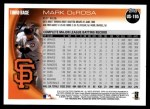 2010 Topps Update #195  Mark DeRosa  Back Thumbnail