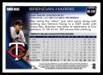 2010 Topps Update #233  Brendan Harris  Back Thumbnail