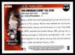 2010 Topps Update #320  Joe Mauer  Back Thumbnail