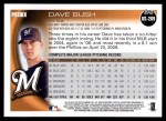 2010 Topps Update #269  Dave Bush  Back Thumbnail