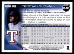2010 Topps Update #171  Cristian Guzman  Back Thumbnail