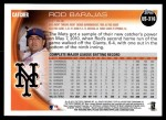 2010 Topps Update #316  Rod Barajas  Back Thumbnail