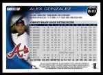 2010 Topps Update #213  Alex Gonzalez  Back Thumbnail