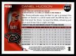 2010 Topps Update #211  Daniel Hudson  Back Thumbnail