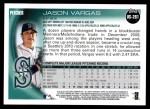 2010 Topps Update #261  Jason Vargas  Back Thumbnail