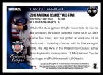 2010 Topps Update #180  David Wright  Back Thumbnail