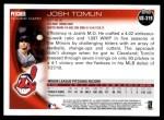 2010 Topps Update #319  Josh Tomlin  Back Thumbnail