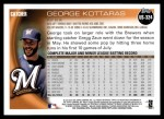 2010 Topps Update #324  George Kottaras  Back Thumbnail