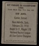 1951 Berk Ross #16 C Sid Abel  Back Thumbnail