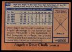 1978 Topps #178  Dave Chalk  Back Thumbnail