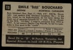 1952 Parkhurst #13  Butch Bouchard  Back Thumbnail