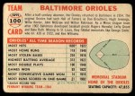1956 Topps #100 CEN  Orioles Team Back Thumbnail