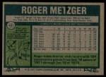 1977 Topps #481  Roger Metzger  Back Thumbnail