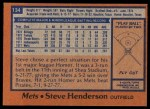 1978 Topps #134  Steve Henderson  Back Thumbnail