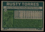 1977 Topps #224  Rusty Torres  Back Thumbnail