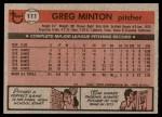 1981 Topps #111  Greg Minton  Back Thumbnail