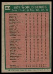 1975 Topps #461   -  Reggie Jackson 1974 World Series - Game #1 Back Thumbnail
