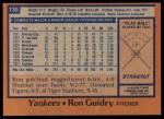 1978 Topps #135  Ron Guidry  Back Thumbnail