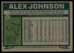 1977 Topps #637  Alex Johnson  Back Thumbnail
