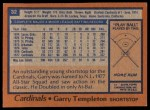 1978 Topps #32  Garry Templeton  Back Thumbnail