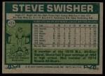 1977 Topps #419  Steve Swisher  Back Thumbnail