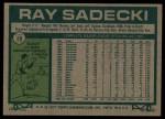 1977 Topps #26  Ray Sadecki  Back Thumbnail
