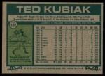 1977 Topps #158  Ted Kubiak  Back Thumbnail