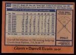 1978 Topps #215  Darrell Evans  Back Thumbnail