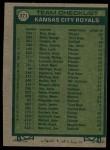 1977 Topps #371   -  Whitey Herzog Royals Team Checklist Back Thumbnail