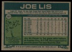 1977 Topps #269  Joe Lis  Back Thumbnail