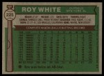 1976 Topps #225  Roy White  Back Thumbnail