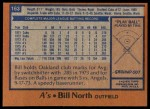 1978 Topps #163  Bill North  Back Thumbnail