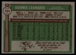 1976 Topps #334  Dennis Leonard  Back Thumbnail