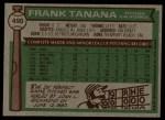1976 Topps #490  Frank Tanana  Back Thumbnail
