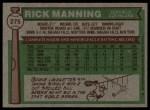1976 Topps #275  Rick Manning  Back Thumbnail