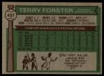 1976 Topps #437  Terry Forster  Back Thumbnail