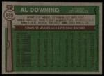 1976 Topps #605  Al Downing  Back Thumbnail
