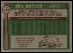 1976 Topps #619  Bill Butler  Back Thumbnail