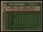 1976 Topps #287  Pete Mackanin  Back Thumbnail