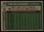 1976 Topps #502  Tim McCarver  Back Thumbnail