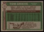 1976 Topps #106  Tom Grieve  Back Thumbnail