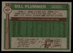 1976 Topps #627  Bill Plummer  Back Thumbnail