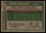 1976 Topps #302  Rick Miller  Back Thumbnail