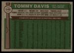 1976 Topps #149  Tommy Davis  Back Thumbnail